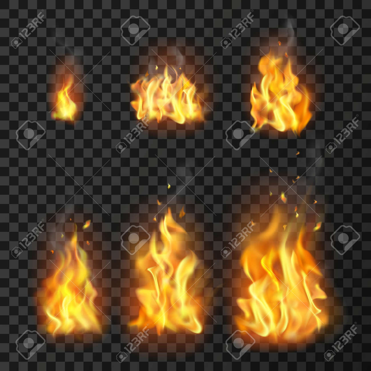 Set of realistic fire flames of various size with sparks on transparent background isolated vector illustration - 166540683