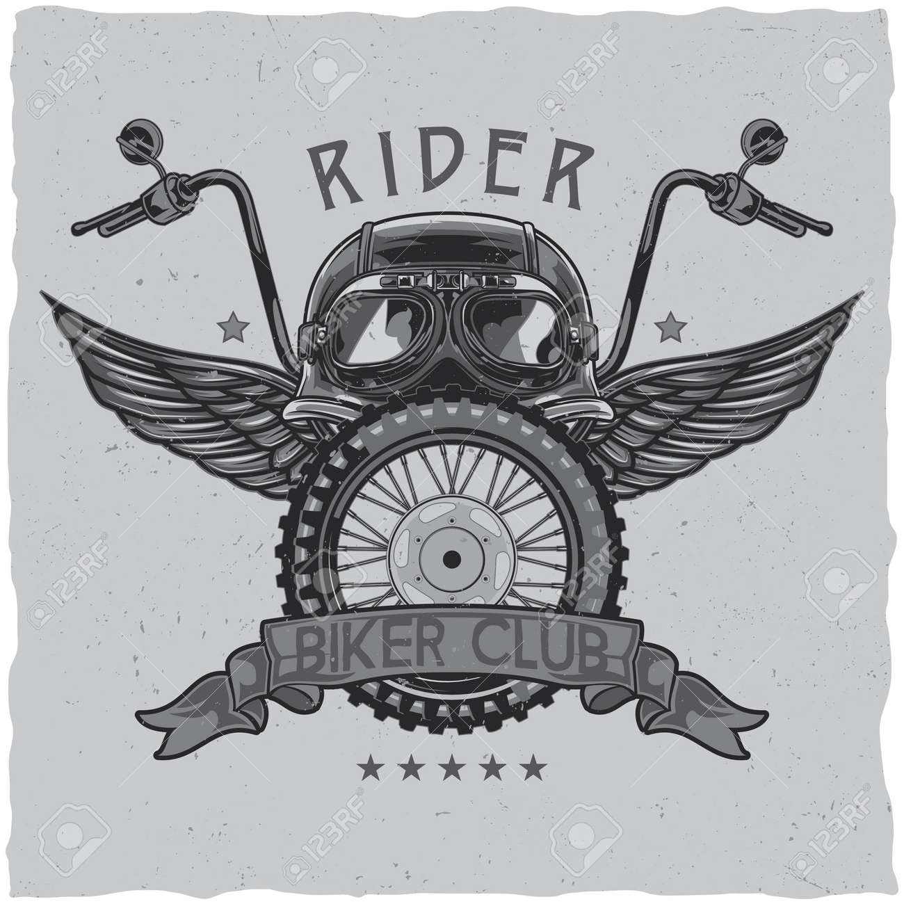 Motorcycle theme t-shirt label design with illustration of helmet, glasses, wheel and wings - 166499102