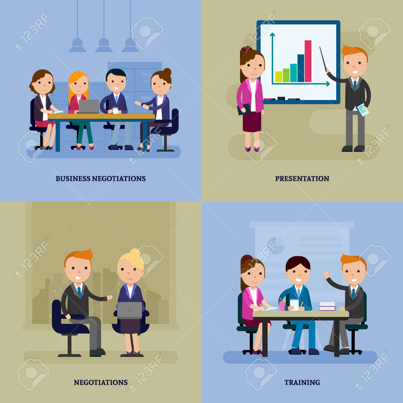 Business negotiation flat template with people at meeting brainstorming conference and training vector illustration - 166522163