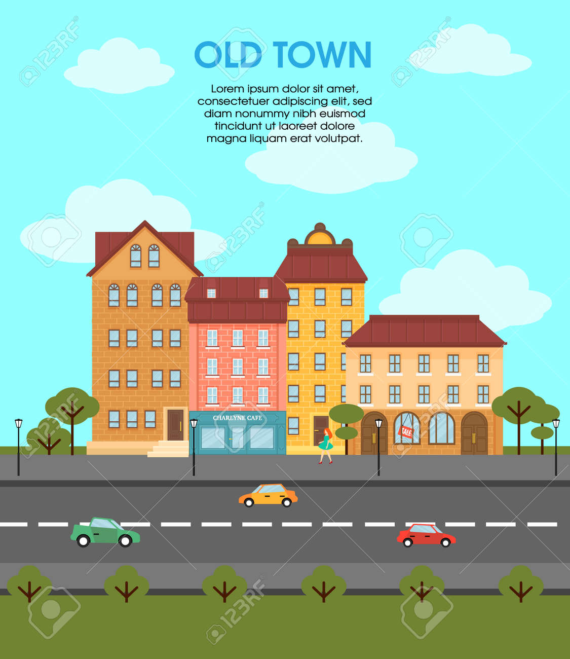 Colorful flat urban landscape template with different buildings cars on road trees and walking woman vector illustration - 166523649