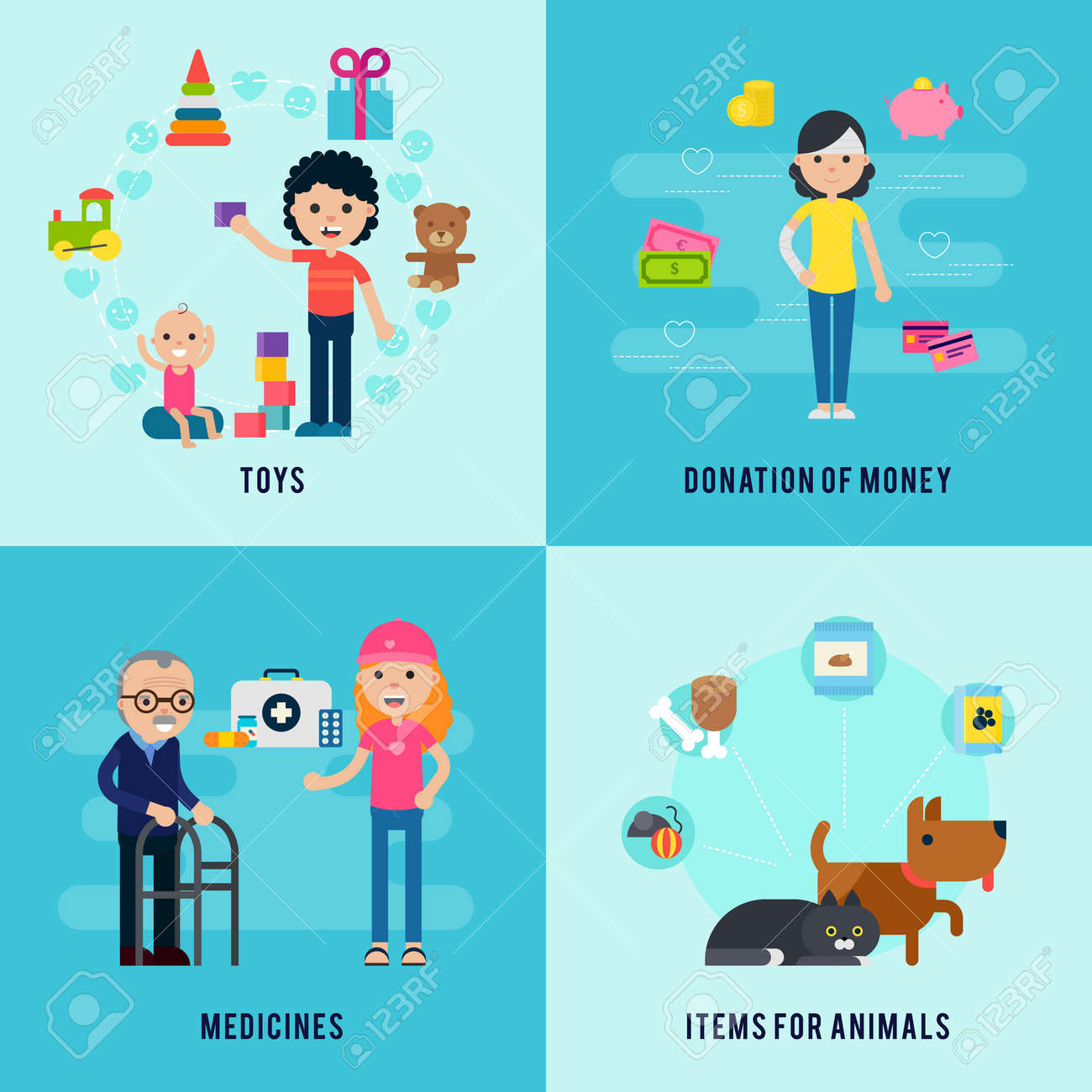 Charity flat concept with support and help to children old people and animals vector illustration - 166509584