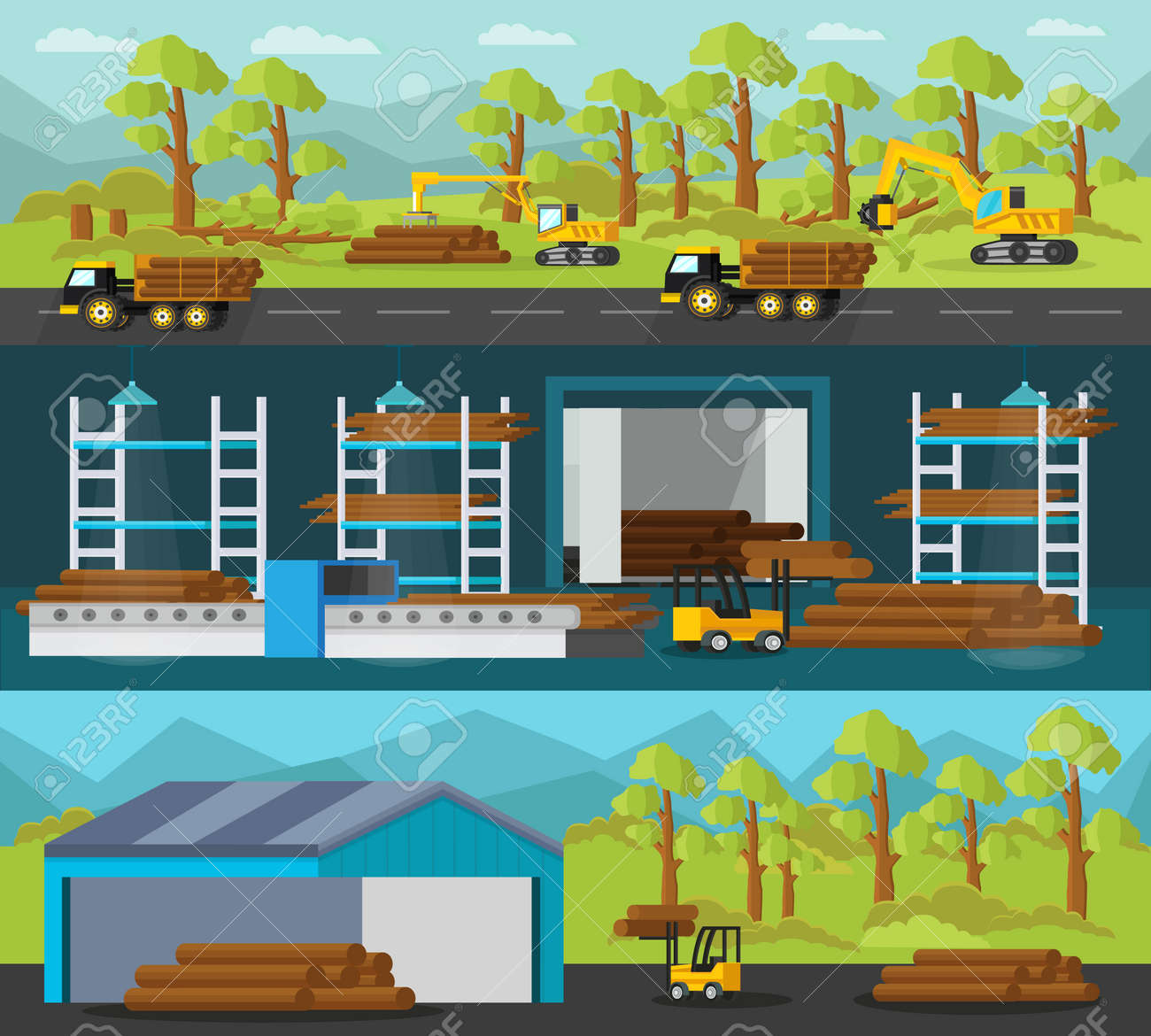 Timber production horizontal banners with industrial vehicles and processes of cutting loading transportation woodworking and logs storage vector illustration - 166511084