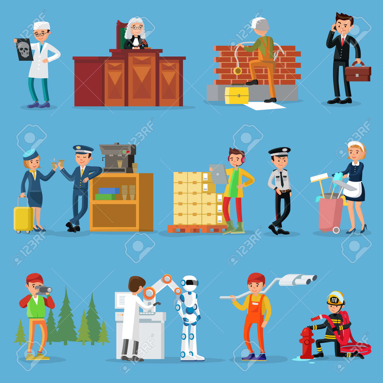 People professions set with doctor judge builder businessman pilot stewardess warehouse worker policeman maid photographer scientist mechanic firefighter isolated vector illustration - 166511242