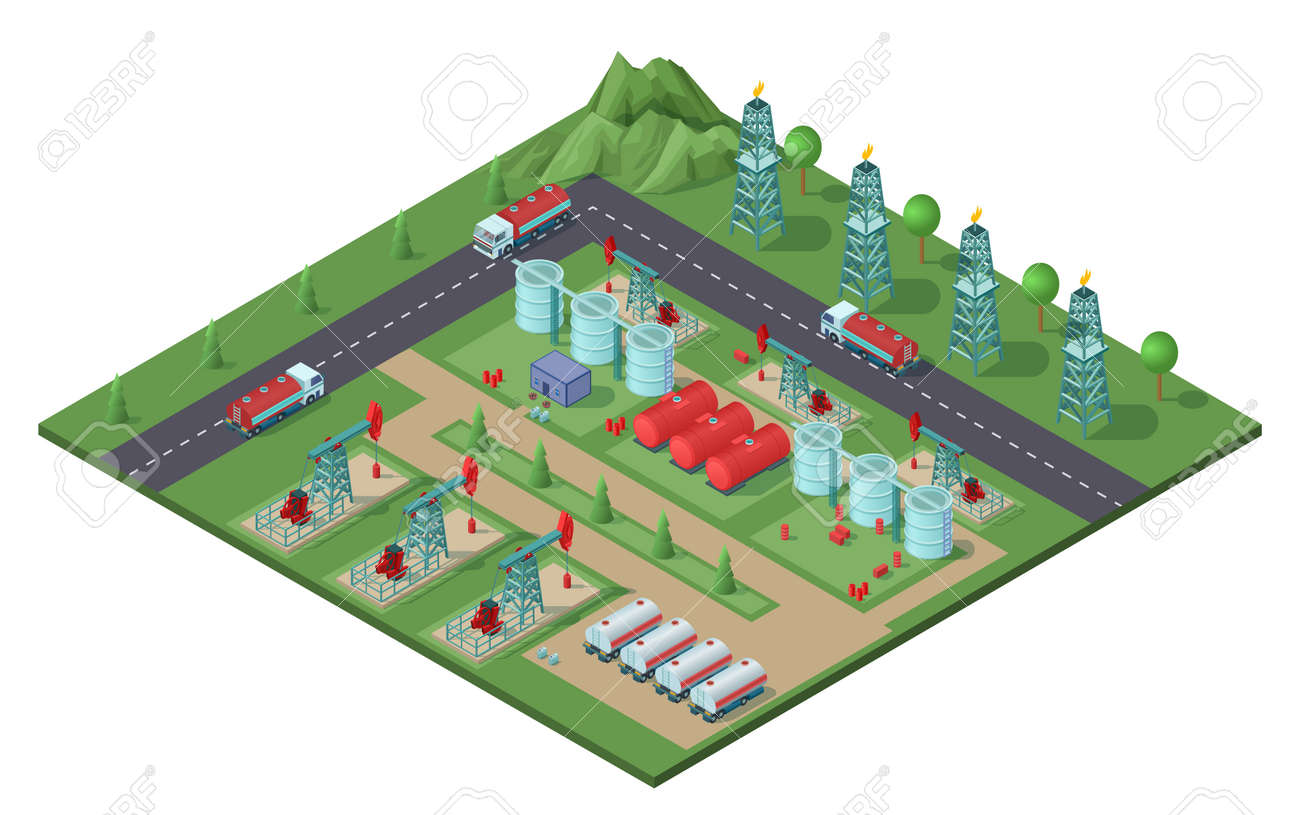 Isometric industrial oil field plant concept with drilling rigs trucks tanks of petroleum electric towers vector illustration - 166511478