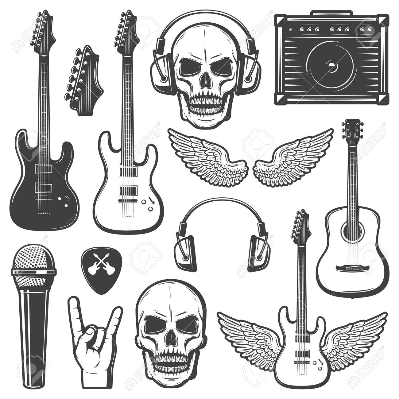 Vintage rock music elements set with guitars skull amplifier headphone mediator wings microphone hand gesture isolated vector illustration - 166588991