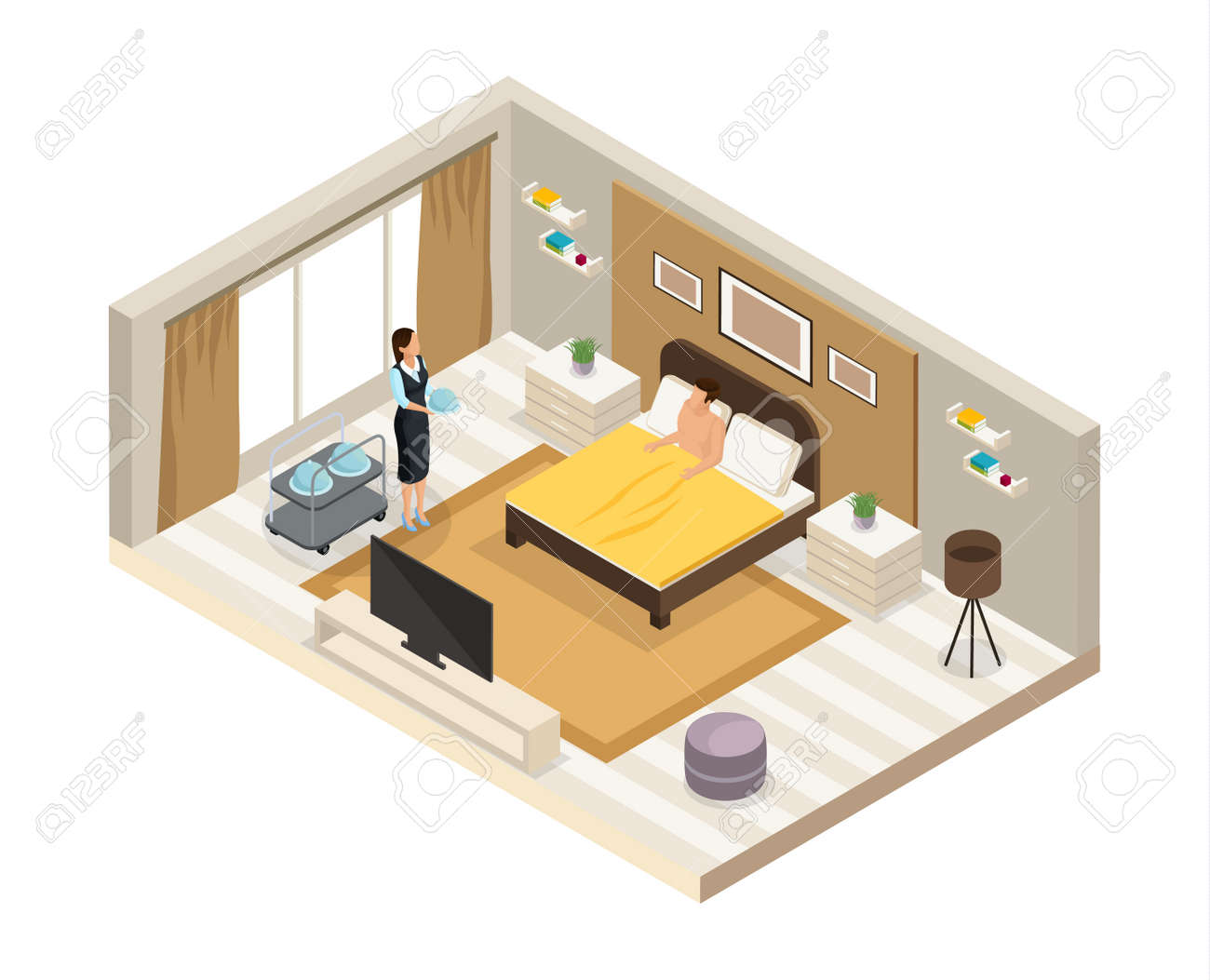 Isometric breakfast hotel service concept with waitress brought dishes to client in room isolated vector illustration - 167626214