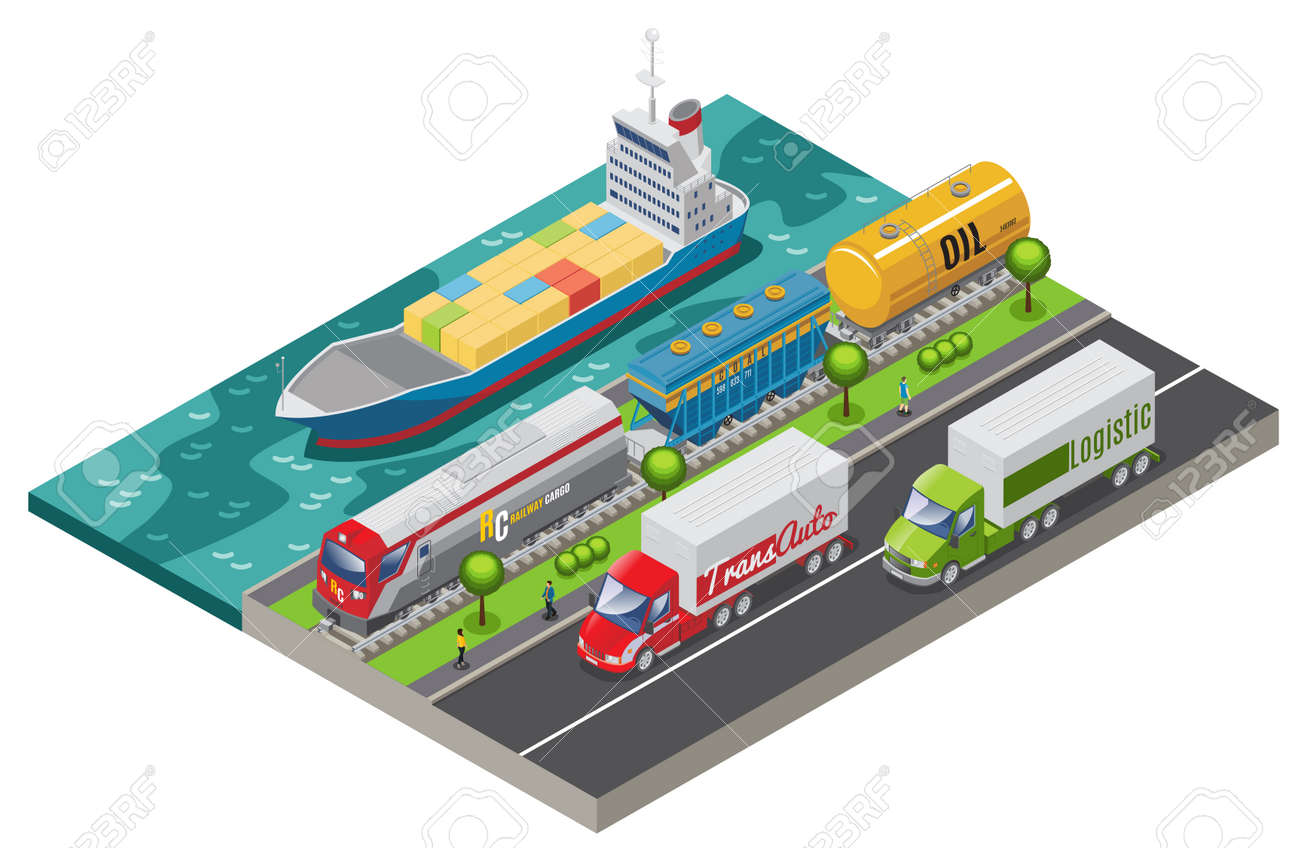 Isometric logistic transportation concept with ship freight train and trucks transporting cargo isolated vector illustration - 166596283