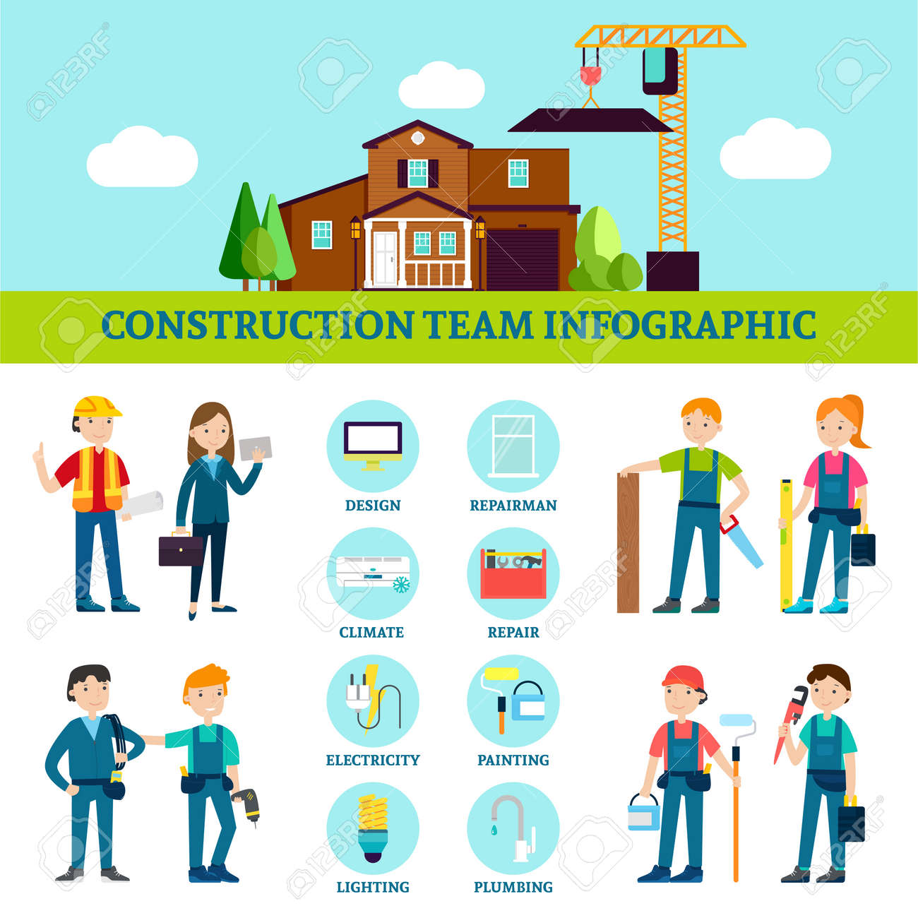 Construction team infographic template with house repair workers with professional equipment and tools in flat style vector illustration - 166616829