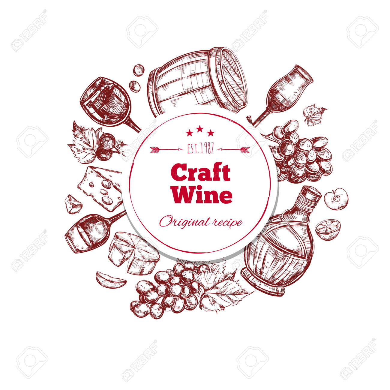 Red wine craft production concept with ingredients barrel bottle and glass in hand drawn style isolated vector illustration - 166617191