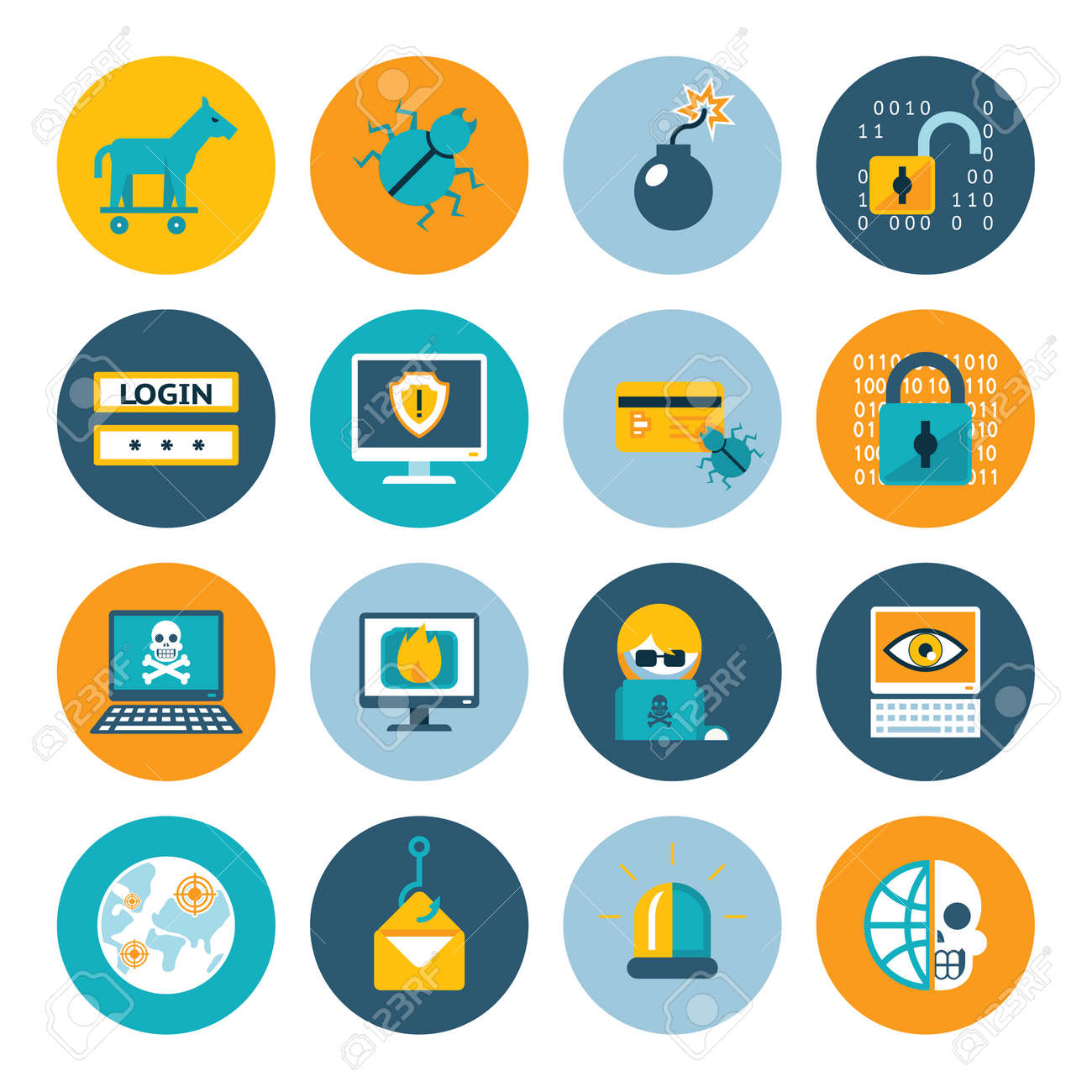 Hacker flat icons. Badges in colorful circles on a white background. Vector illustration - 166722355