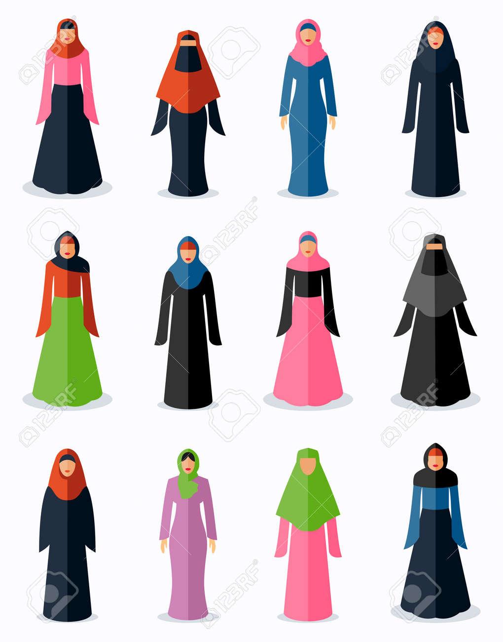 Muslim woman flat icons. Female traditional culture, arabic islam religion, vector illustration - 166718830