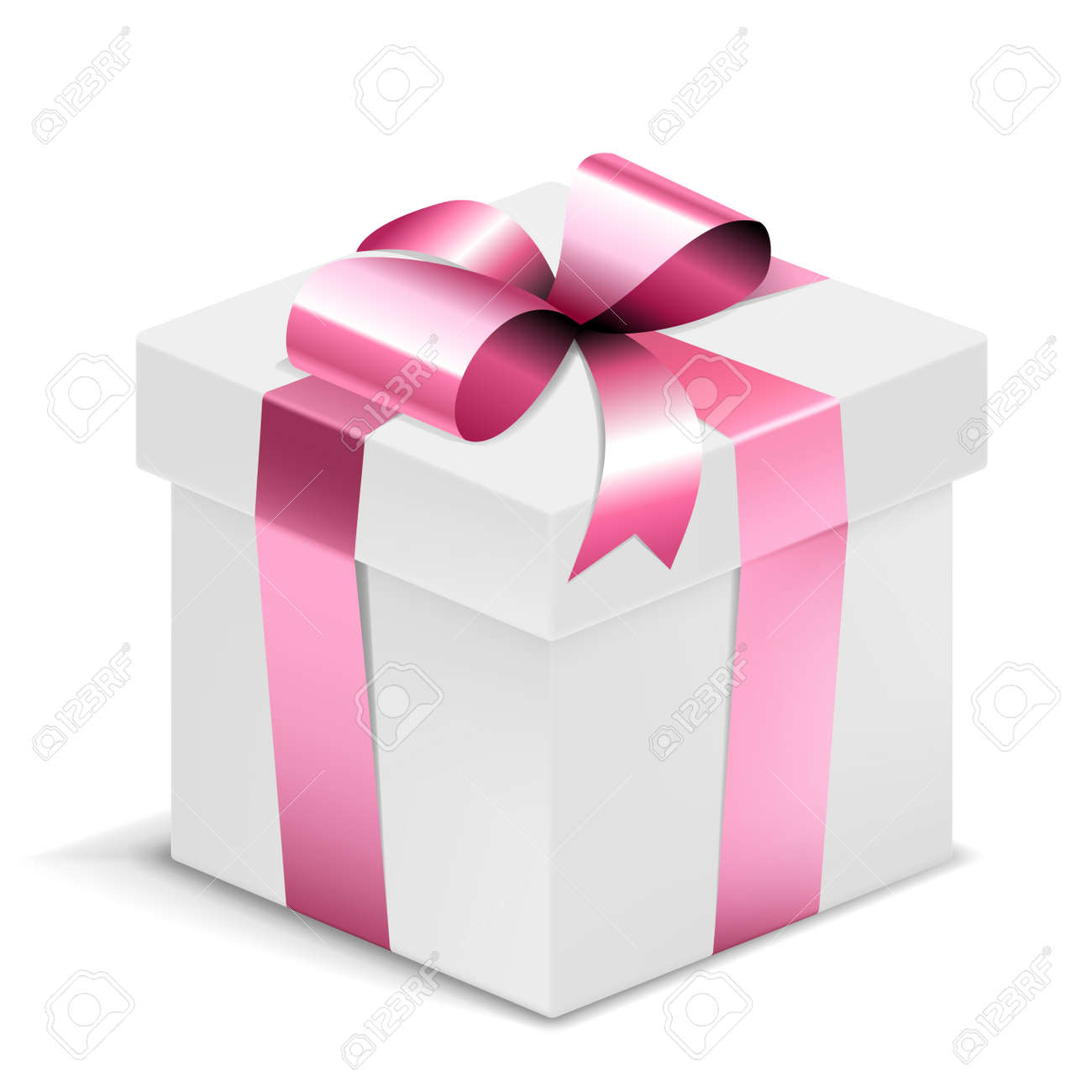 Gift Box white with pink bow isolated on white. Vector Illustration. EPS10 opacity - 166718835