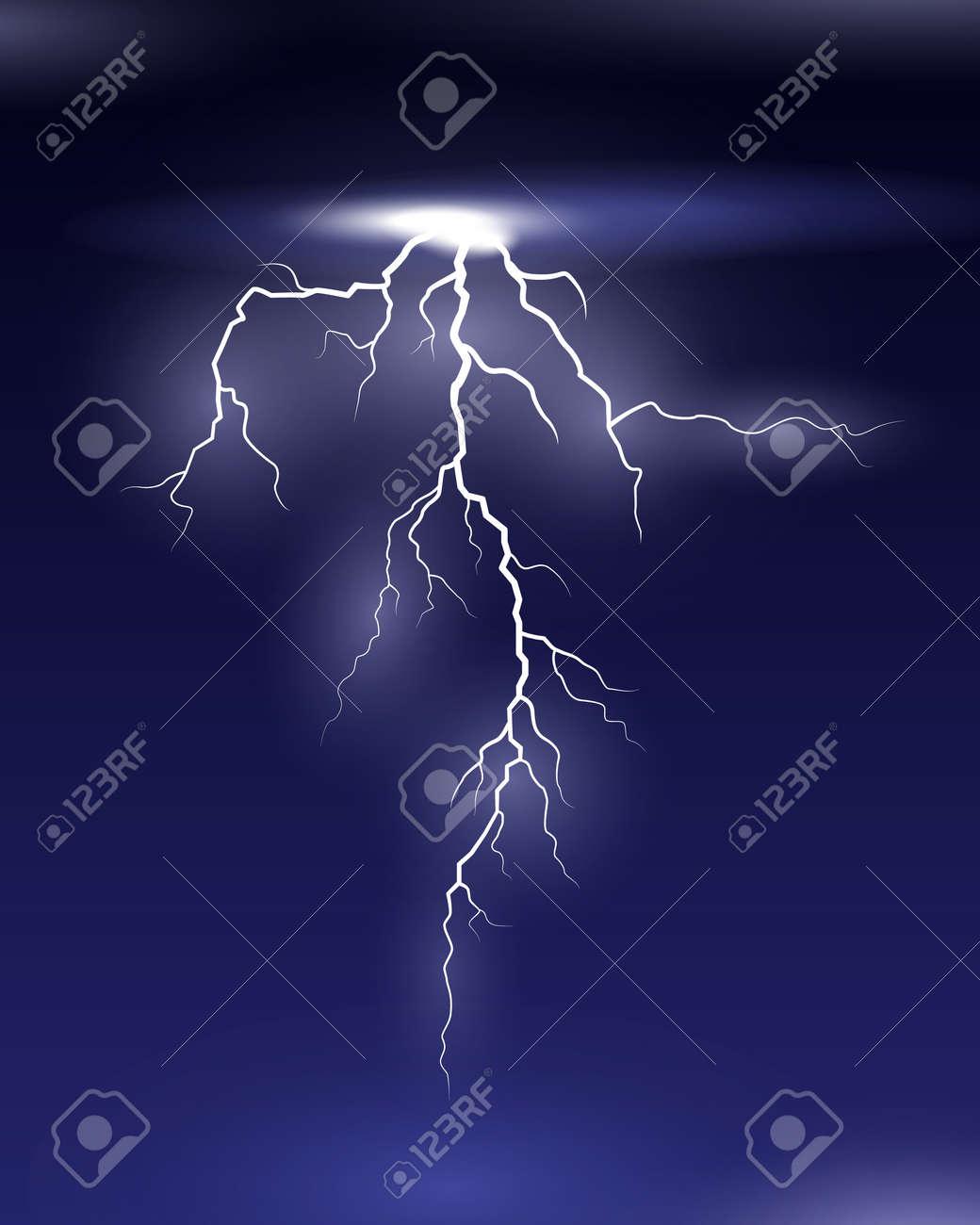 Vector Lightning on black and blue background - 166719216