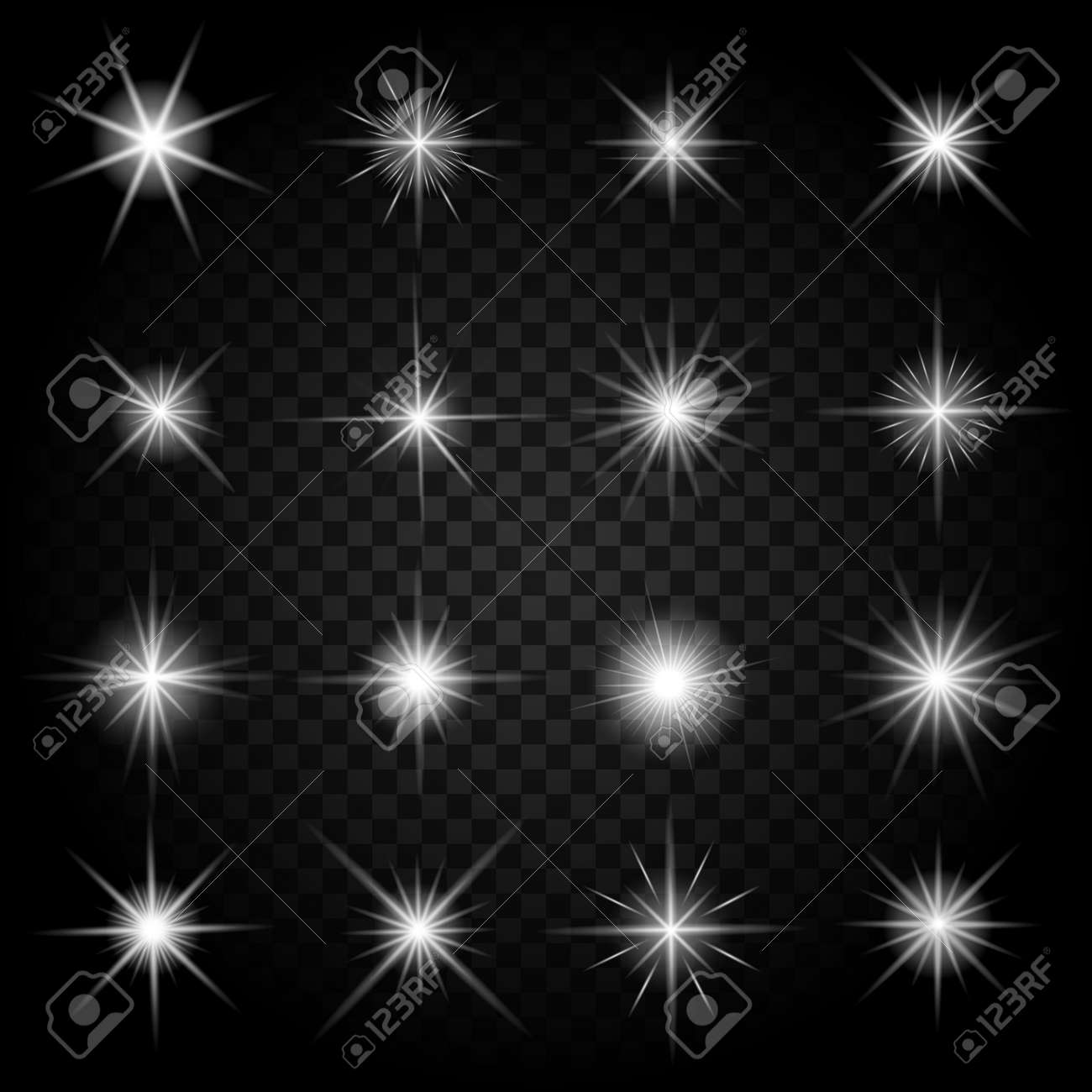 Stars bursts with sparkles and glowing light effects. Graphic bright set, burst firework twinkle, vector illustration - 166726445