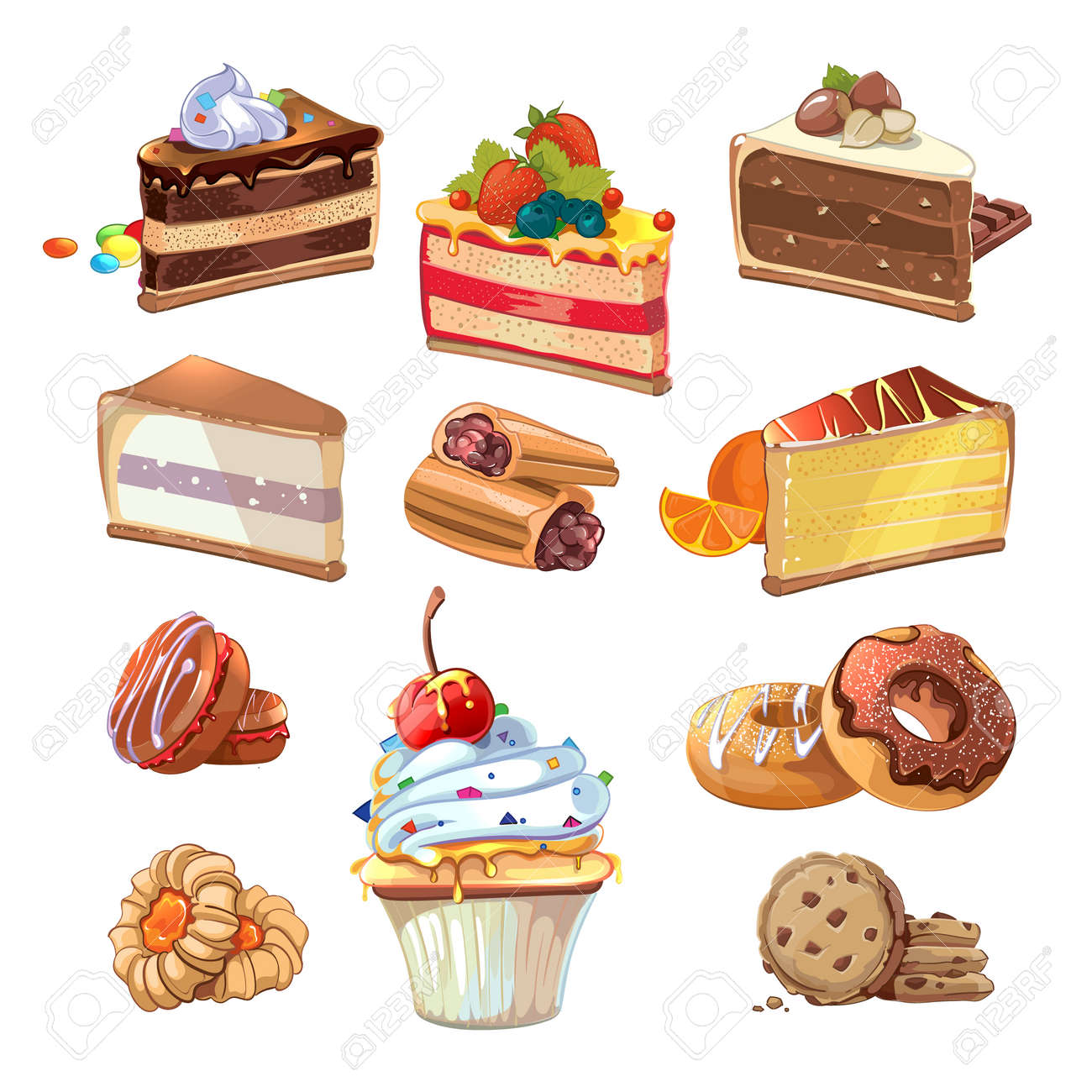 Pastry set in cartoon style. Food cake, sweet bakery, tasty snack with cream, vector illustration - 166760074