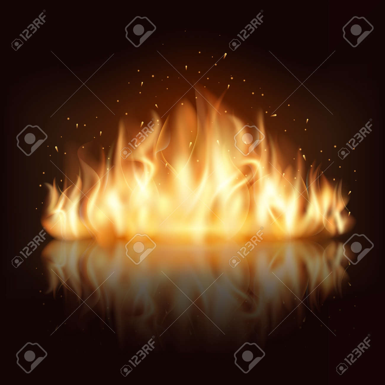 Burning fire flame. Burn and hot, warm and heat, energy flammable, flaming vector illustration - 166761242