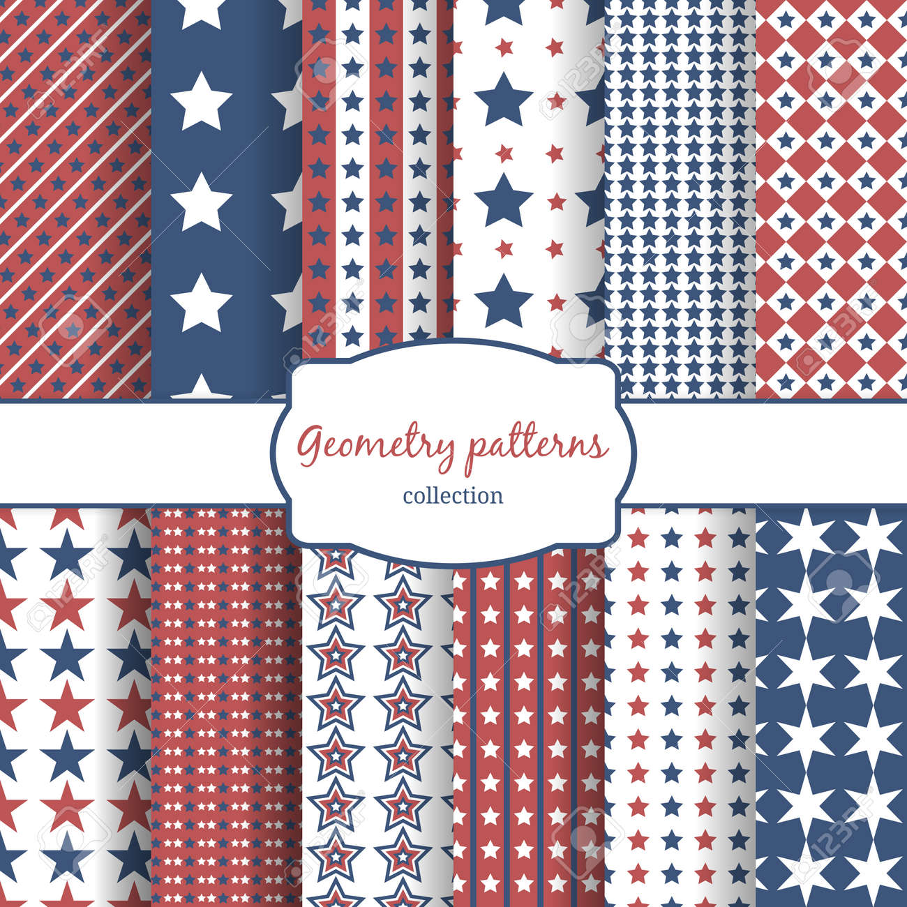 Set of stars and stripes pattern seamless patterns. Row, line and diagonal and geometry. Vector illustration - 166761418