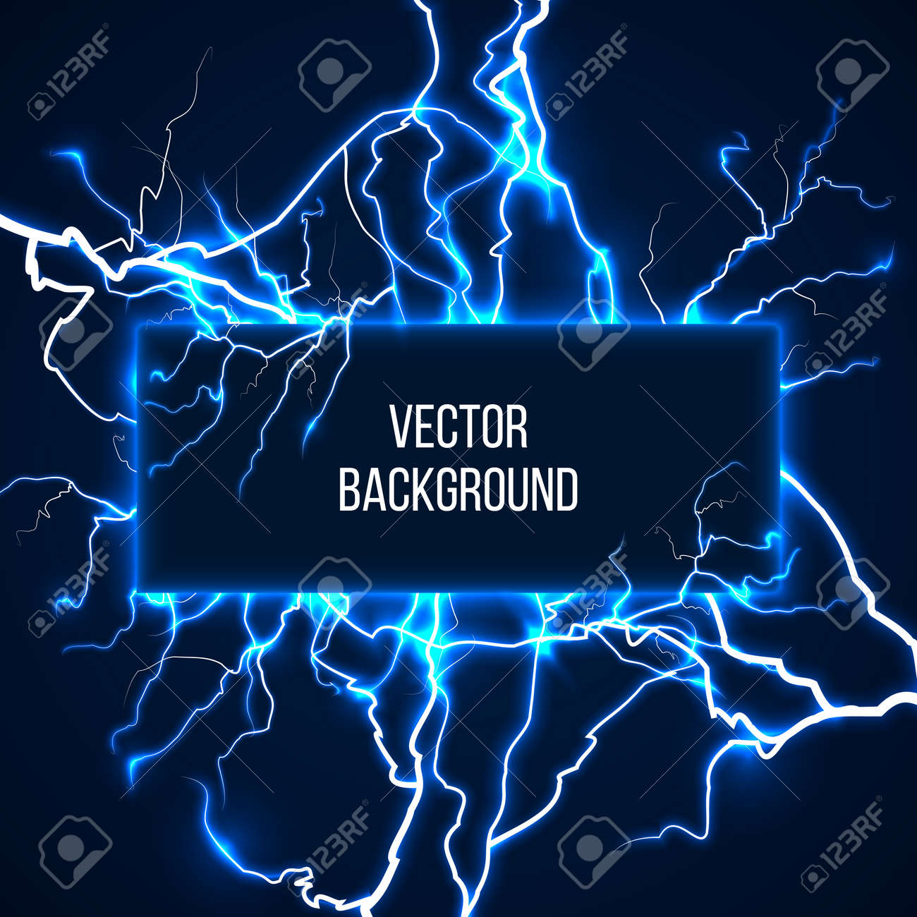 Vector banner with lightnings and discharge current. Electricit, voltage storm, weather nature illustration - 166762838