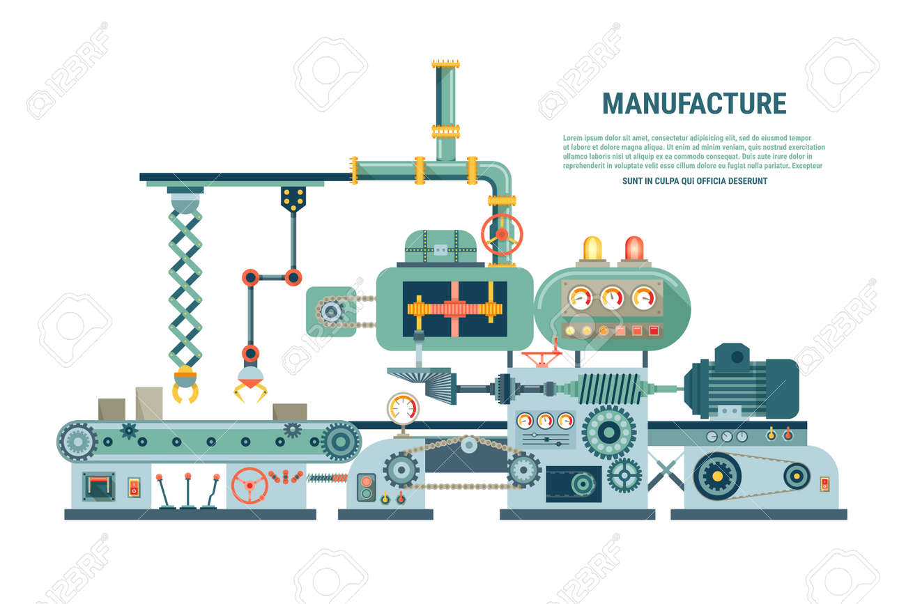 Industrial abstract machine in flat style. Factory construction equipment, engineering vector illustration - 166767550