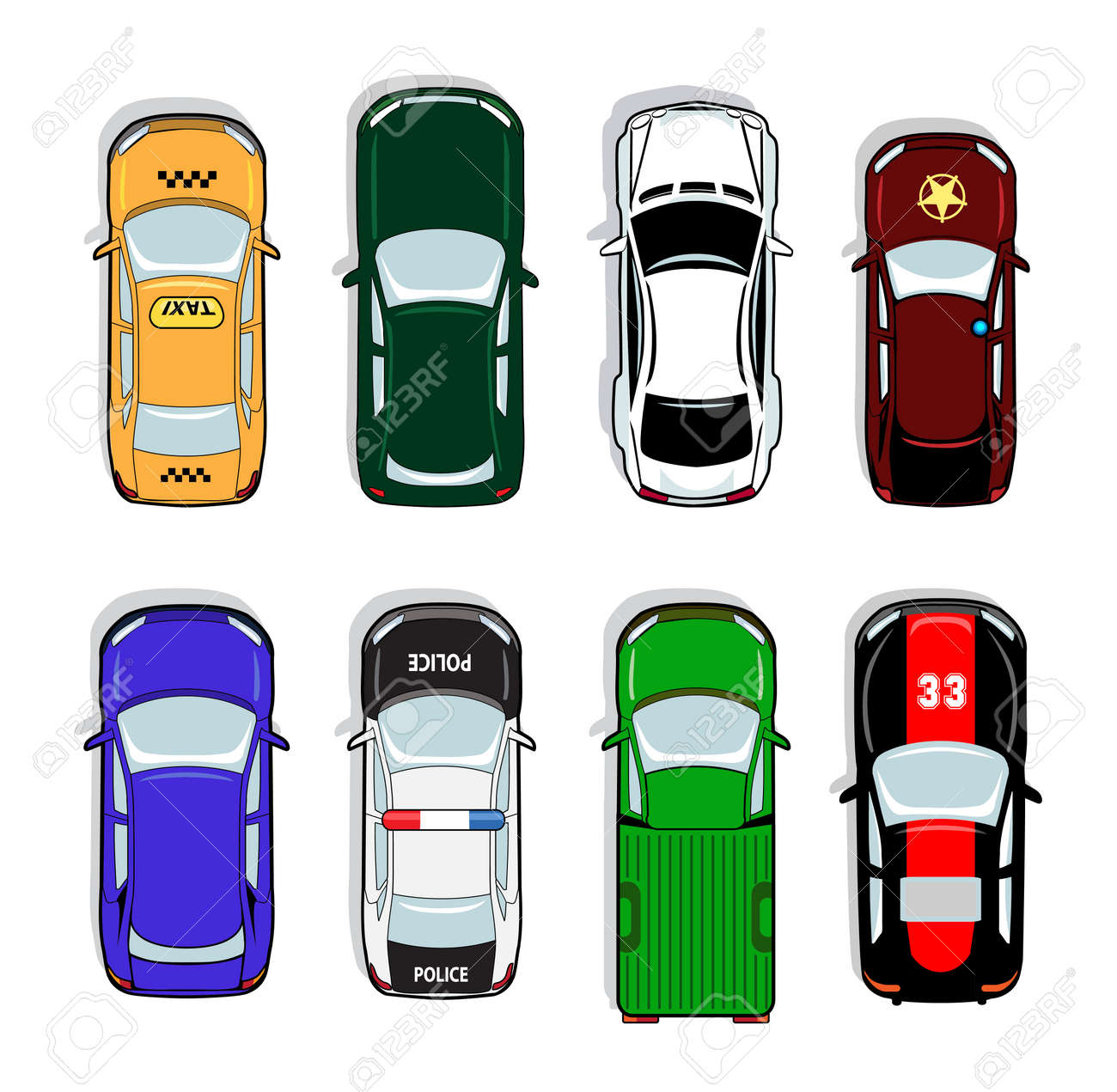 Police car and taxi, sports car and sedan icons. Transport sign, auto, drive and symbol, vector illustration - 166768925