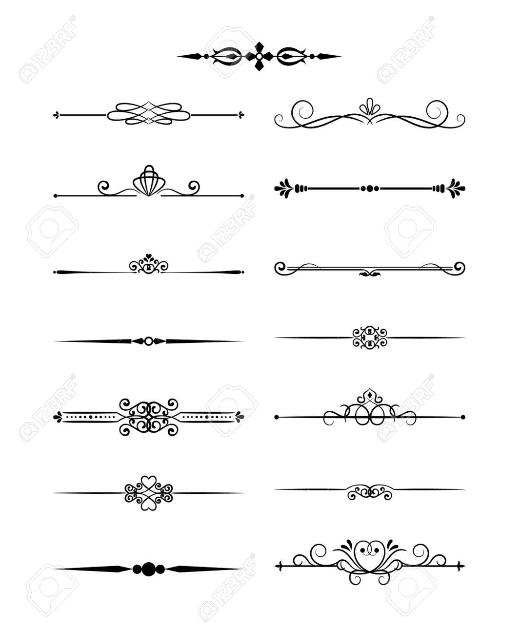 Floral design elements vintage dividers in black color. Page decoration. Vector illustration. Isolated on white background. Can use for birthday card, wedding invitations - 166769563