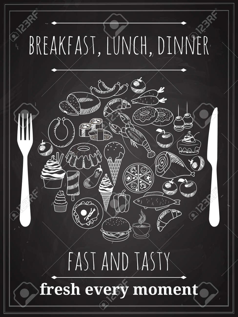 Vector Vintage Breakfast, Lunch or Dinner Poster Background - 166779365