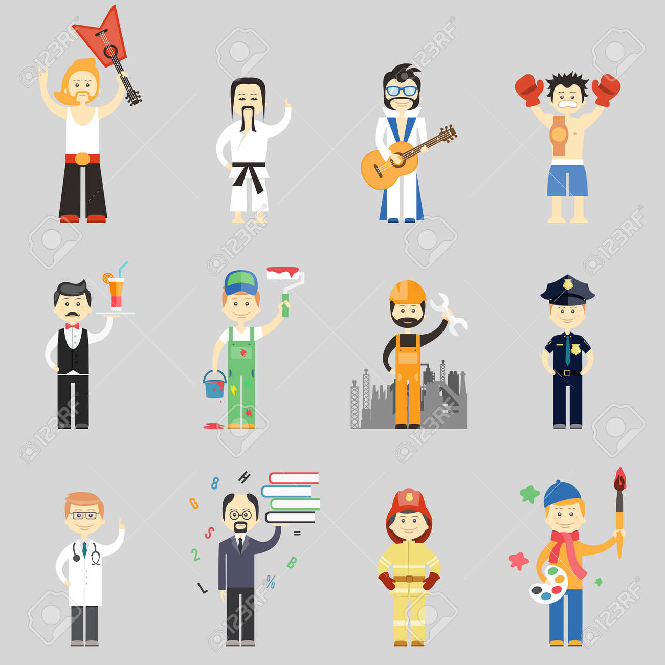 Set of vector characters in different professions including martial arts musicians waiter painter construction worker policeman doctor professor fireman and artist - 166779429
