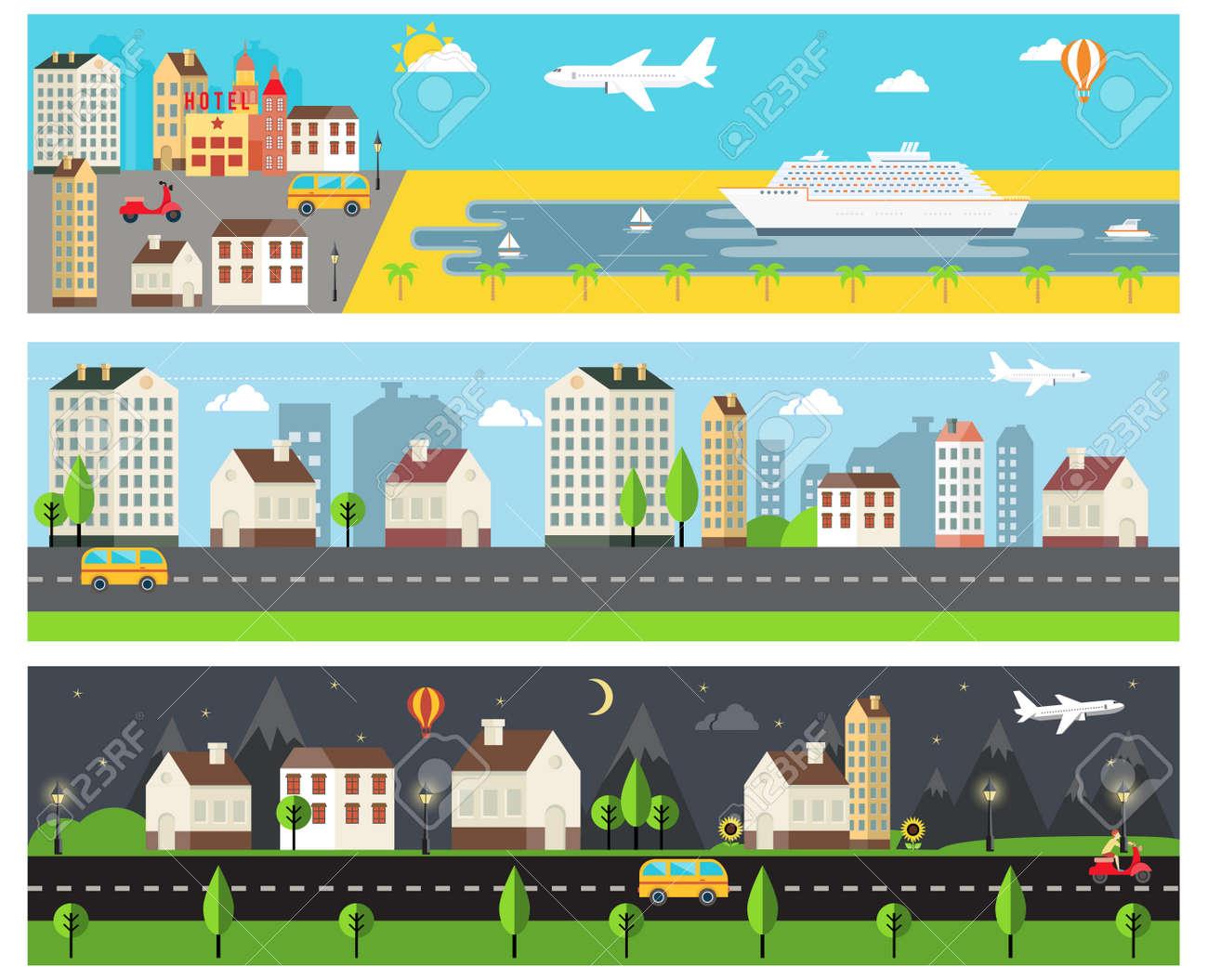 Cool Vector Cartooned Embankment Rural and Urban Road Banners - 166780598