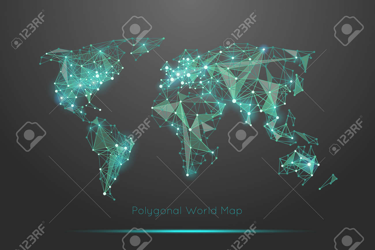 Polygonal world map. Global travel geography and connect, continent and planet, vector illustration - 166780859