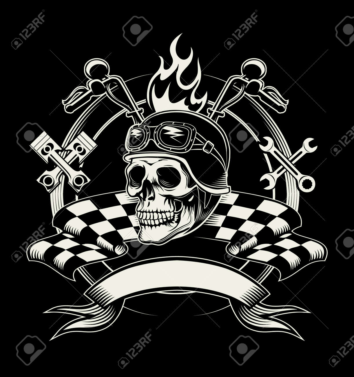 Vector biker emblem with skull or dead motorcycle racer. Speed biker, rider and cross wrench and flag - 166781139
