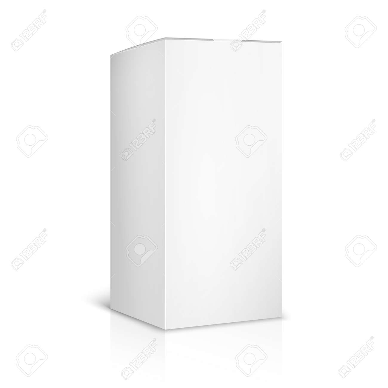 Blank paper or cardboard box template on white background. Container and packaging. Vector illustration - 166800206