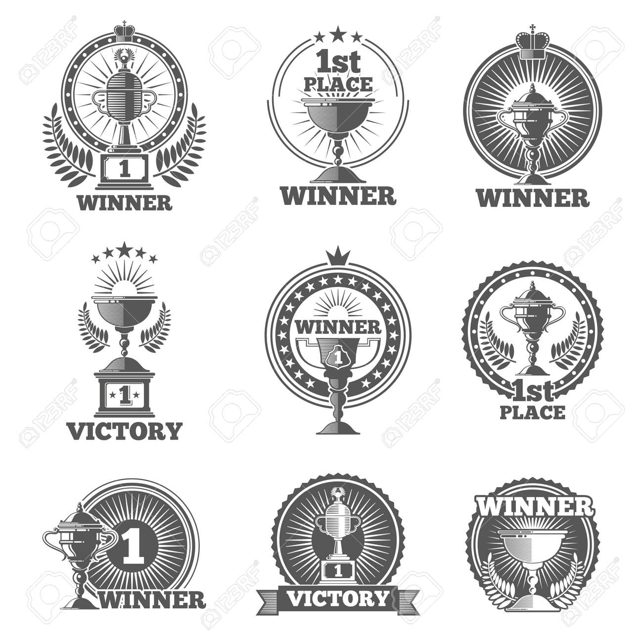 Victory trophies and awards vector logos, badges, emblems. Win cup sport, champion stamp, vector illustration - 166800679