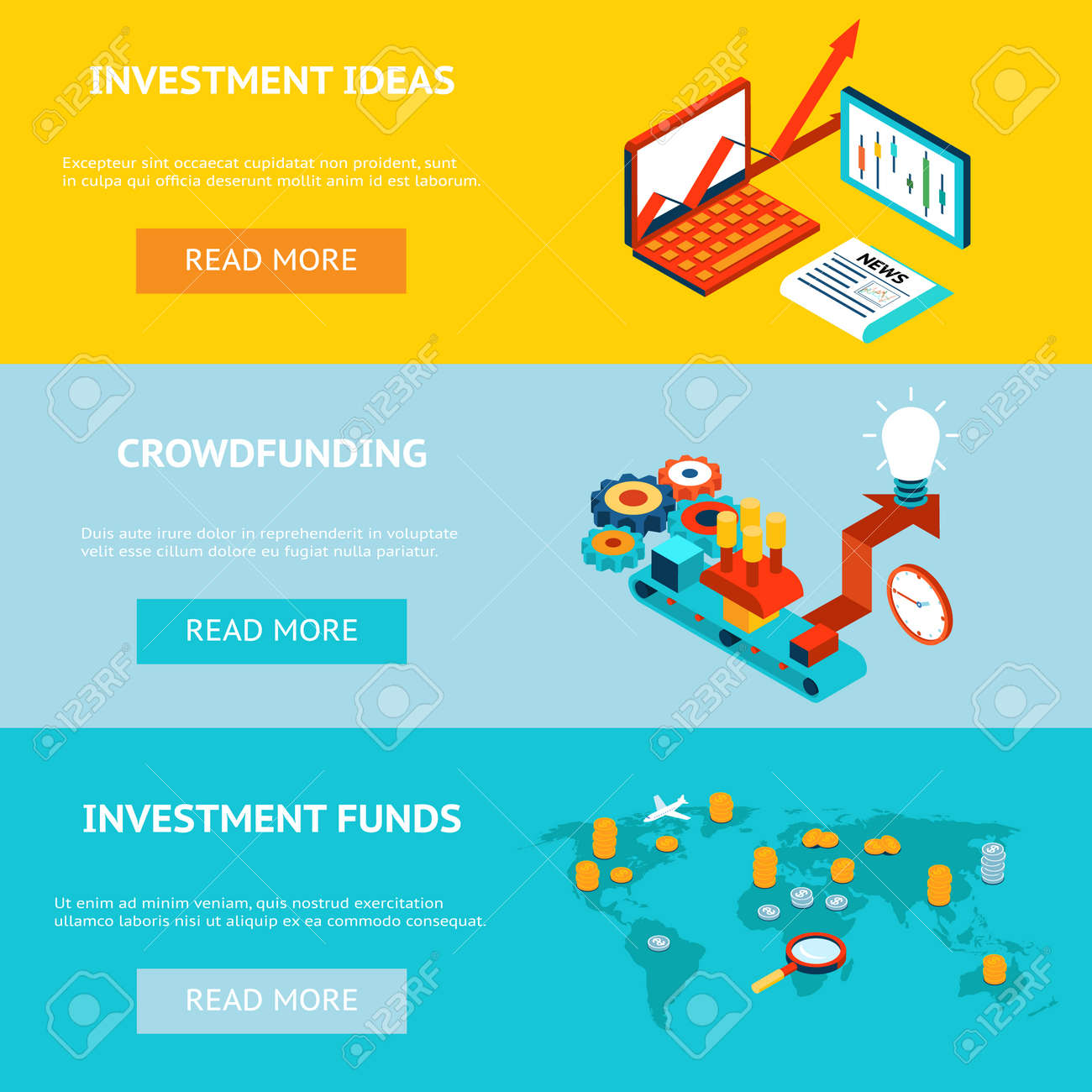 Business investment banners. Crowdfunding, investment ideas and investment funds. Concept strategy, marketing and funding, investor financial, vector illustration - 166997734