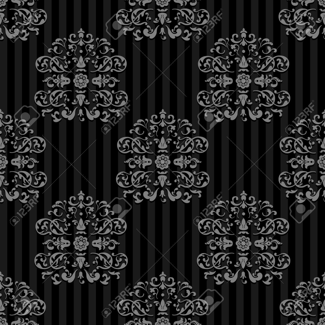 Seamless Vector Royal background. Gray strips on Dark - 167008877