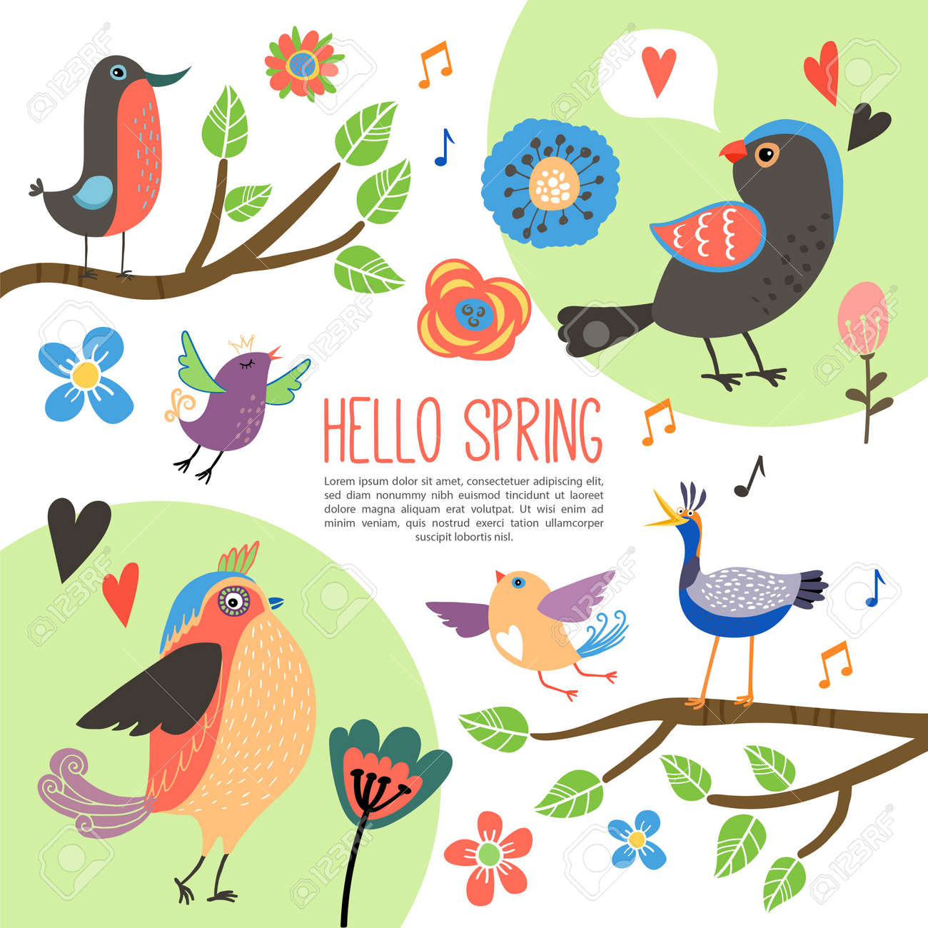 Flat spring time composition with beautiful colorful birds on tree branches tulip rose and other blooming flowers isolated vector illustration - 166860958