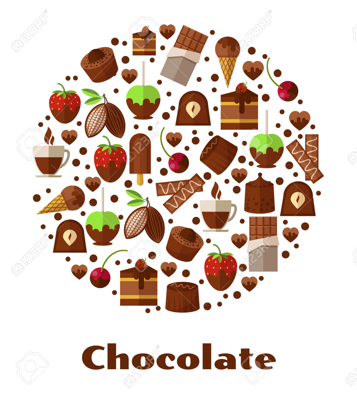 Desserts and delicacies, chocolate food round sign. Design snack product, breakfast biscuit confectionery. Vector illustration - 166892561