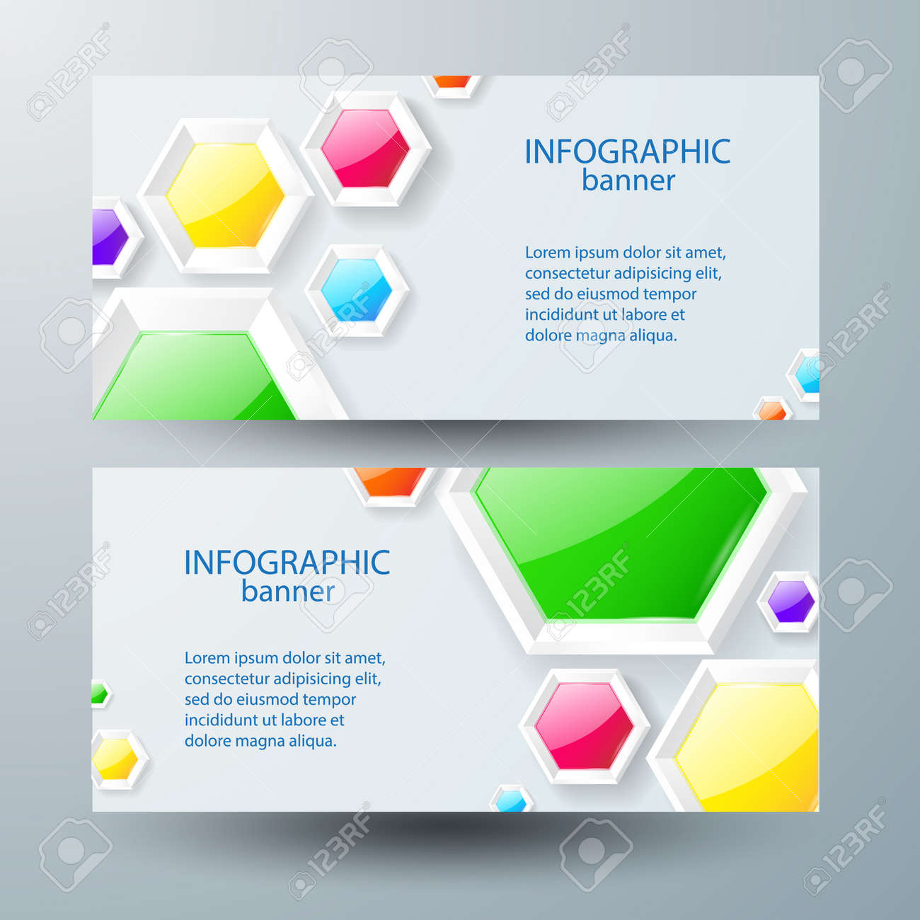 Web infographic horizontal banners with text and colorful glossy hexagons on gray background isolated vector illustration - 166896214