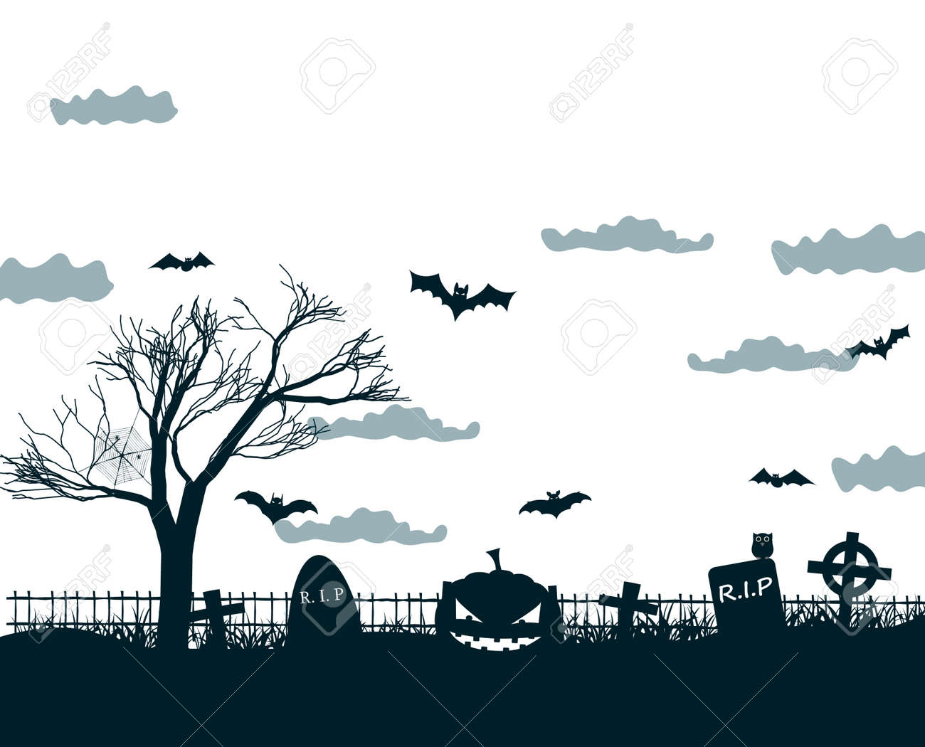 Halloween night background poster in black, white, grey colors with dark cemetery crosses, dead tree, smiling pumpkins and bats at lunar sky vector illustration - 167002900
