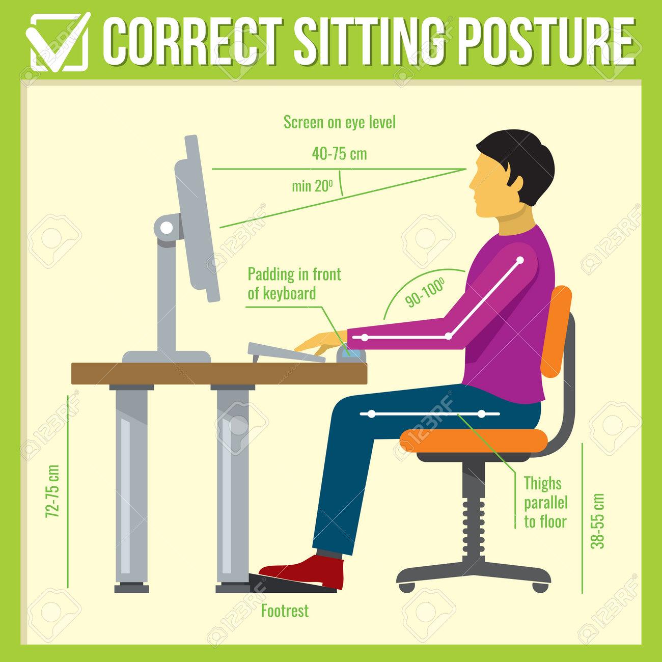 Correct sitting posture Vector infographics - 167077927