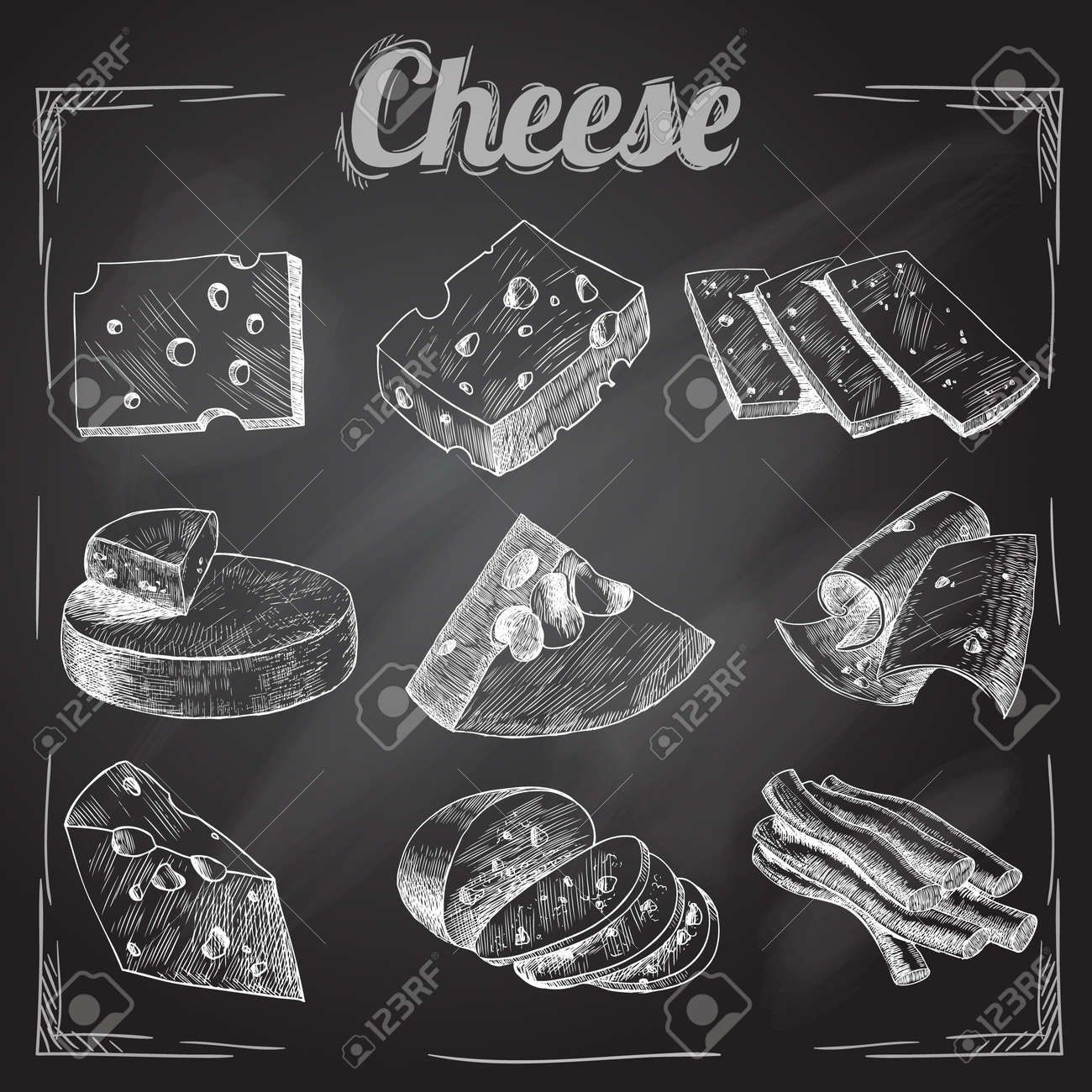 Chalk board cut sliced cheese assortment decorative icons set vector illustration - 167078811