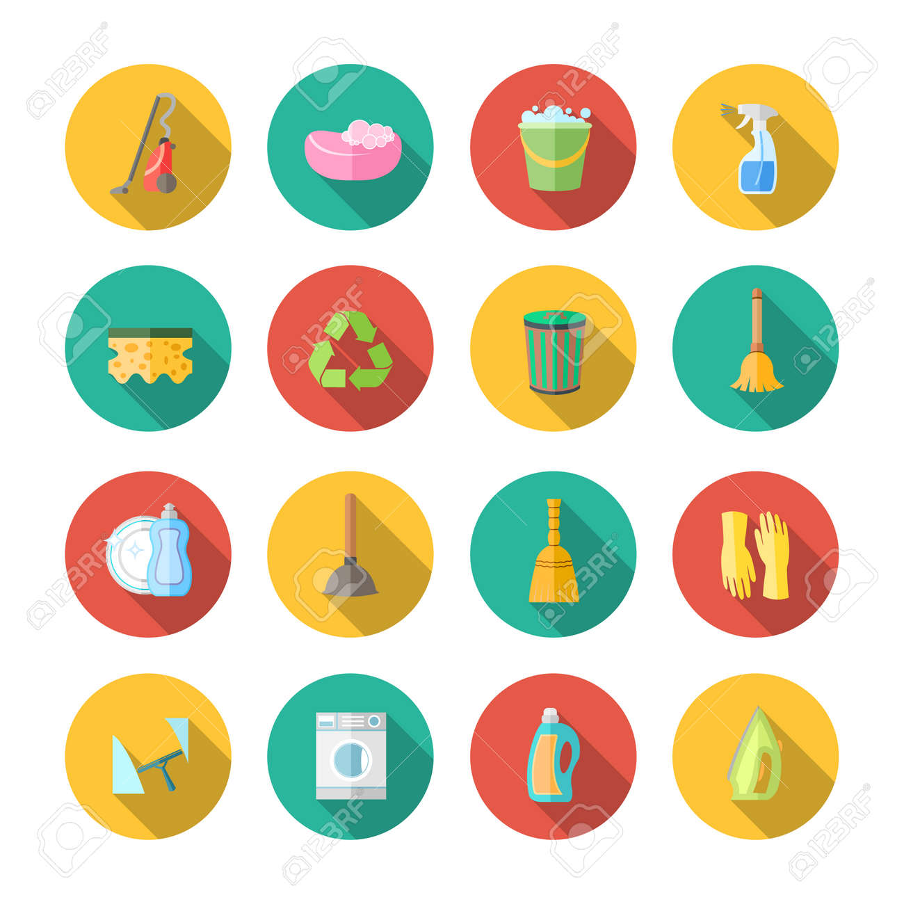 Cleaning dusting and sanitation icons set of can bucket spray plunger isolated vector illustration - 167078930