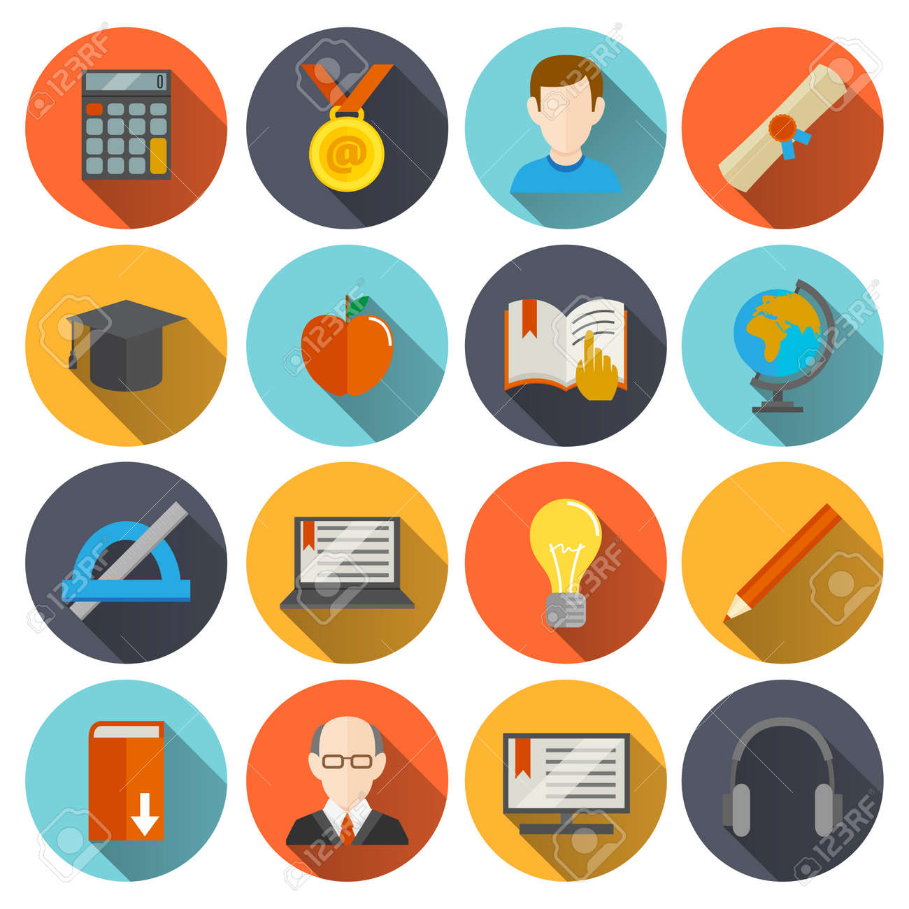Education school university e-learning flat long shadow icons set with science elements isolated vector illustration - 167123426