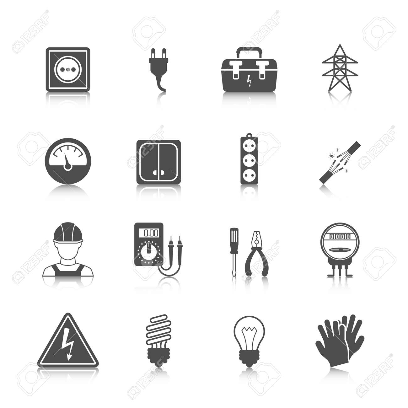 Electricity icon black set with plug socket power station isolated vector illustration - 167123482