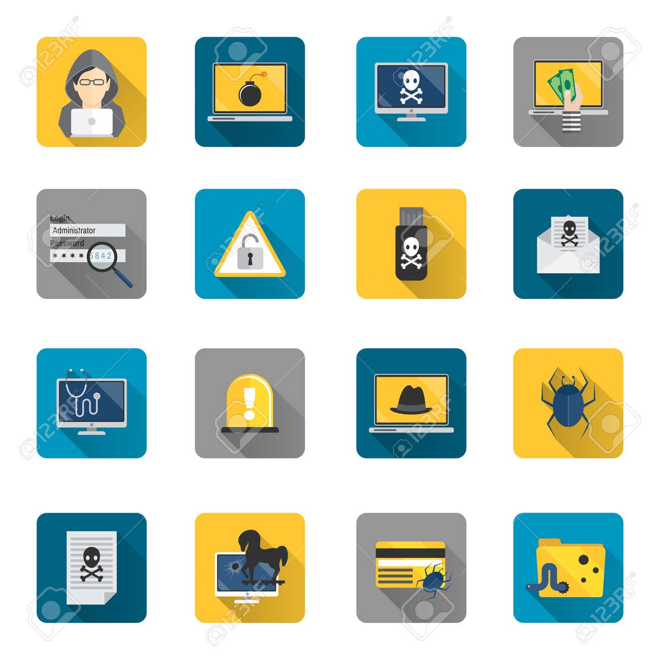 Hacker and computer safety and protection technology flat button icons set isolated vector illustration - 167123740