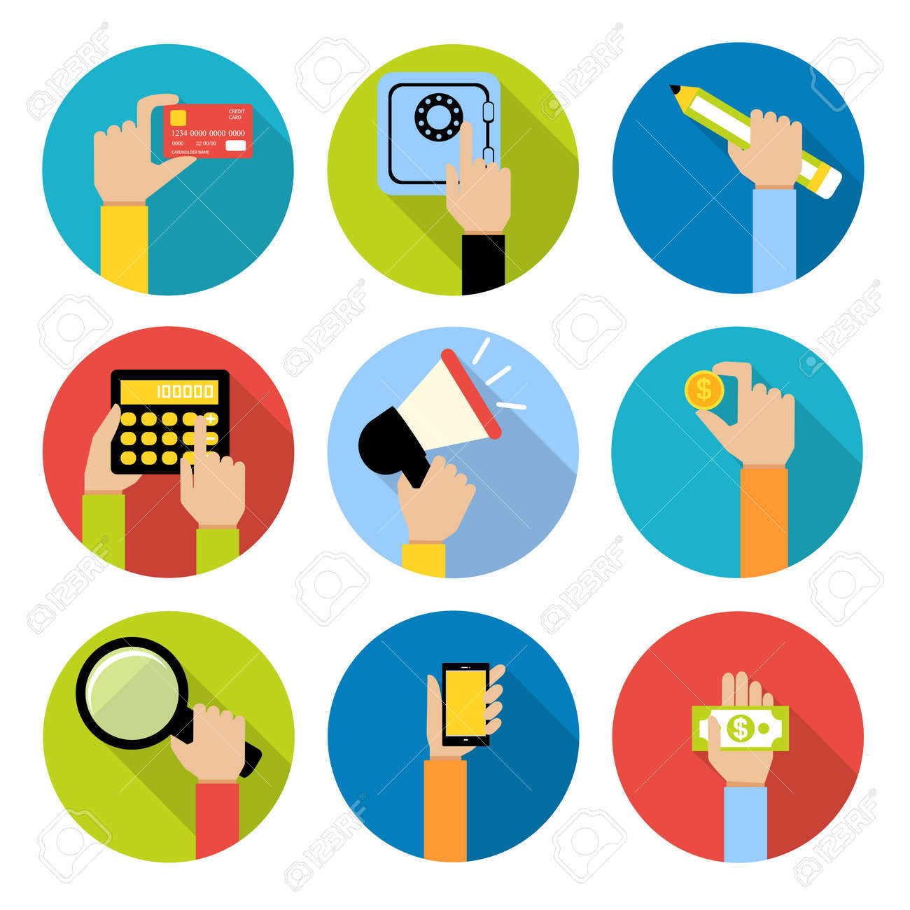 Business human hands with money coin and paper cash safe credit card icons set isolated vector illustration - 167123767