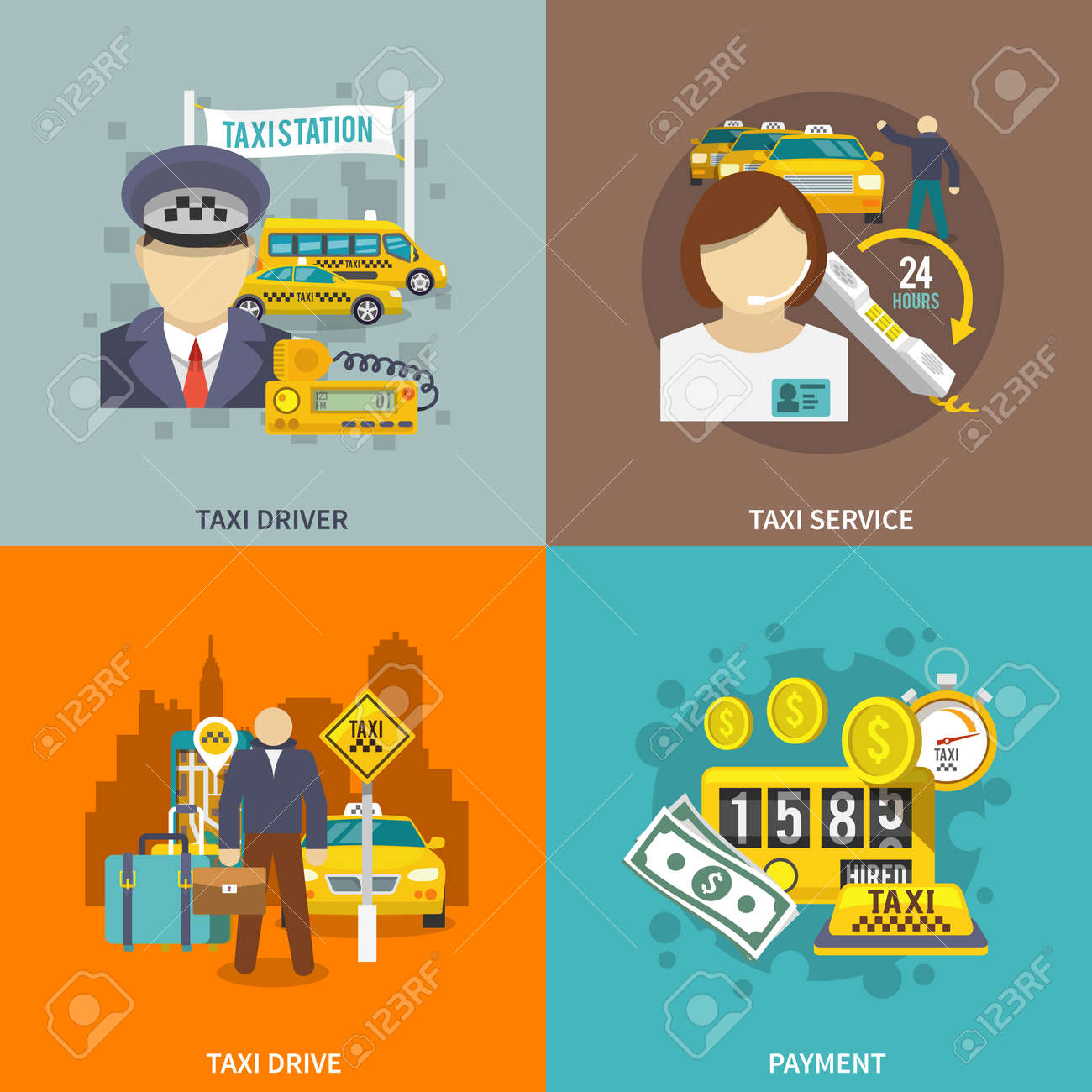 Taxi flat icons set with driver service drive payment isolated vector illustration. - 167123836