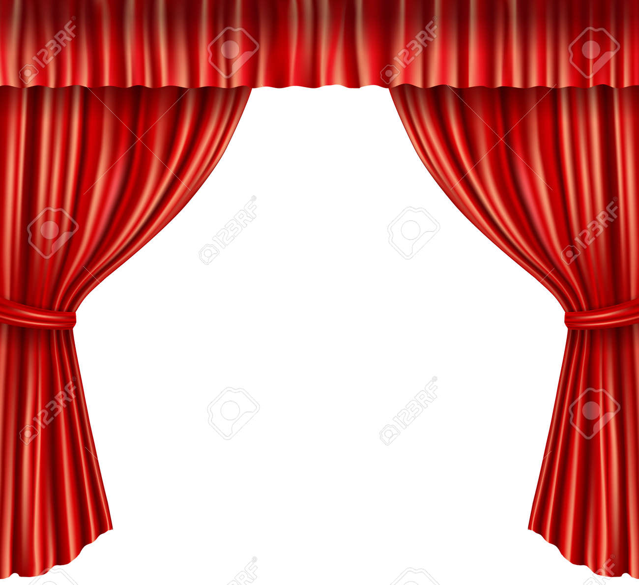Theater stage red velvet open retro style curtain isolated on white background vector illustration - 167123931