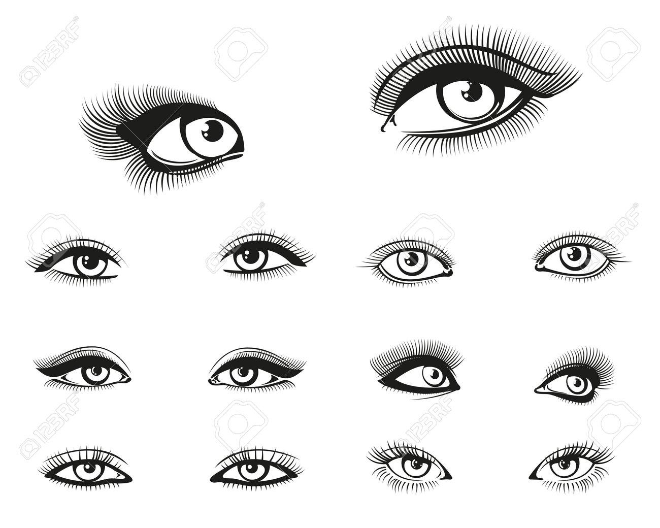 Vector woman eyes set. Eye woman, girl eye beauty, makeup eye illustration - 167186393