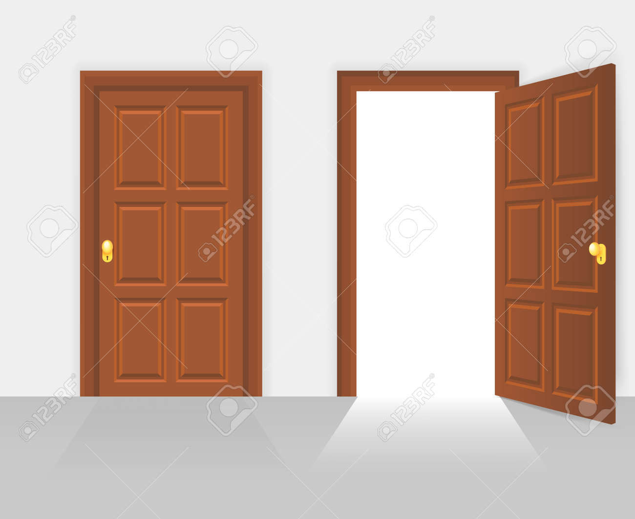 Open and closed door house front. Wooden open entry with shining light. Vector illustration - 167186398