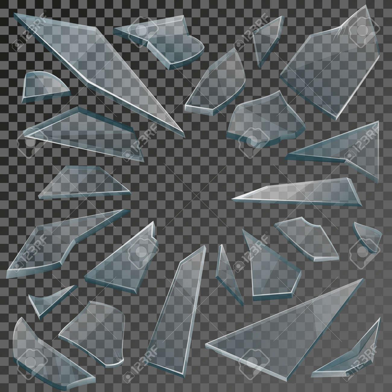 Realistic transparent shards of broken glass on checkered backdrop. Vector illustration - 167187155
